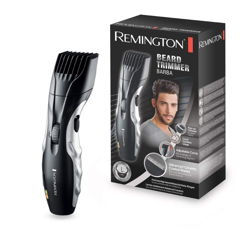 `The Remington Barba beard trimmer in front of its box. Both the beard trimmer and the box are black