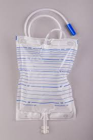 A clear catheter bag with blue lines across it